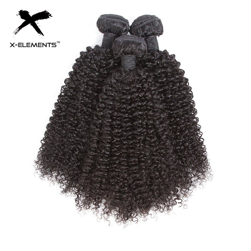 X-Elements Hair Malaysian Kinky Curly Hair Weave 3 4 Bundles Deals 100% Human Hair Extensions Non-Remy 8-26 Inches Natural Color (4)