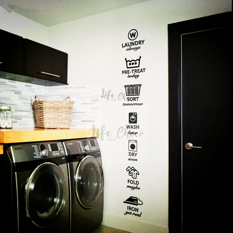 Laundry Shop Signs Wall Sticker Iron Flod Wash Logo Vinyl Wall Decals Removable Laundry Room Poster Service Wall Art Decor AC036(China)
