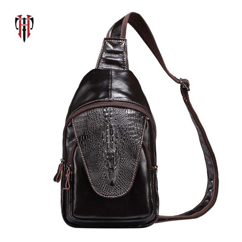 TIANHOO sacs de poitrine en cuir de vache Mini homme sac alligator parttern décontracté pour hommes portefeuilles de téléphone portable petits sacs