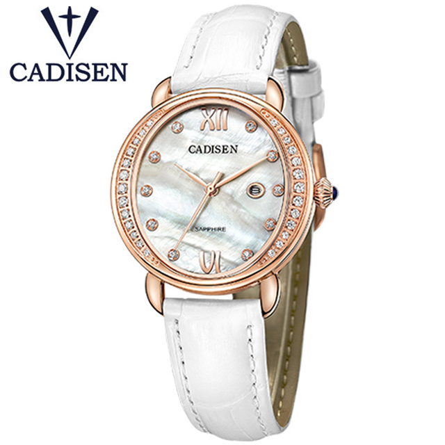 2017 CADISEN Luxury Brand Women Geneva Watch Quartz Female Clock Genuine Leather Rhinestone Wristwatch Ladies Gift Reloj Mujer in Women 39 s Watches from Watches