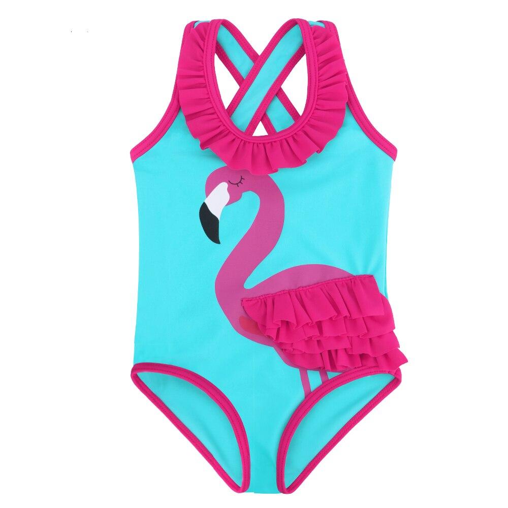 BAOHULU/Новый Маленькая девочка малышей Симпатичные летние без рукавов голубой купальник белый цельный детская розовая роза животных фламинг...