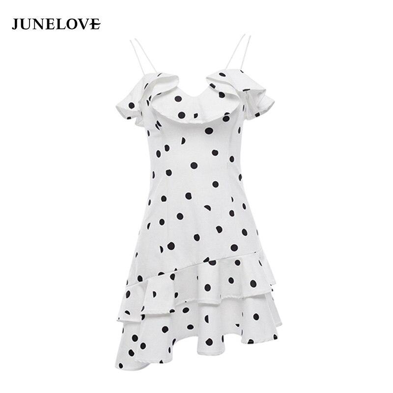 JuneLove 2018 summer ruffles sweet girl women dress sexy backless print dot women dress short sleeves drapped ladies vestidos