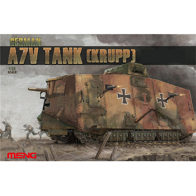 OHS Meng TS017 1/35 German A7V tank Krupp Plastic WWI Military AFV Model Building Kits oh ohs meng ts007 1 35 german main battle tank leopard 1 a3 a4 afv model building kits