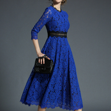 H han queen 2018 Spring New Women's Lace Dresses Floral Crochet Hollow Out Vestido Patchwork Casual Slim Office Party Long Dress