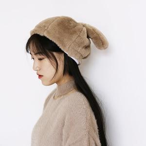 Image 3 - 女性冬の帽子和風甘いかわいいウサギの耳豪華なキャップ動物の帽子 Skullies New ファッションふわふわウォーマービーニーキャップ
