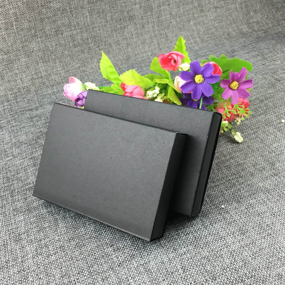 24pcs/lot Black Paper Drawer Boxes Packaging Box DIY Handmade Soap Craft Jewel Party Gift Boxes With Black Velvet