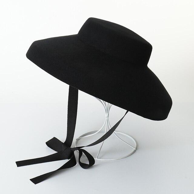 98560359ba9a7 Audrey Hepburn Chapéu de Lã Chapéu de Disquete 100% de Feltro de Lã de  Inverno
