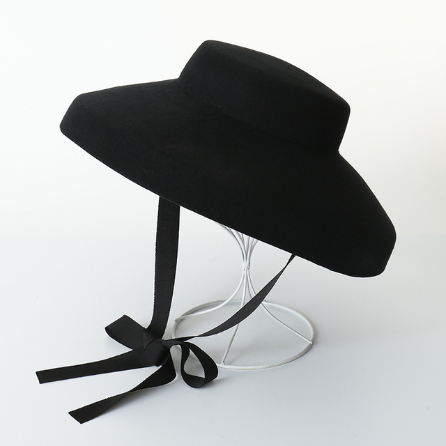 53008e1ccd2 Audrey Hepburn Wool Hat Women Vintage Hat 100% Wool Felt Floppy Winter  Ladies Elegant Black