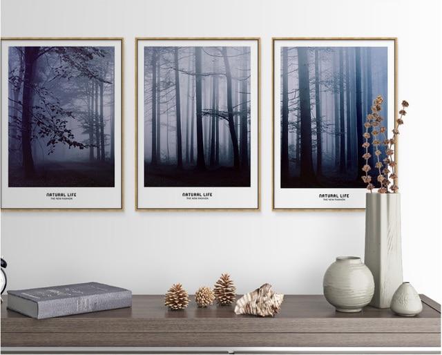 Nordic 3 stuks decoratieve schilderijen misty forest moderne