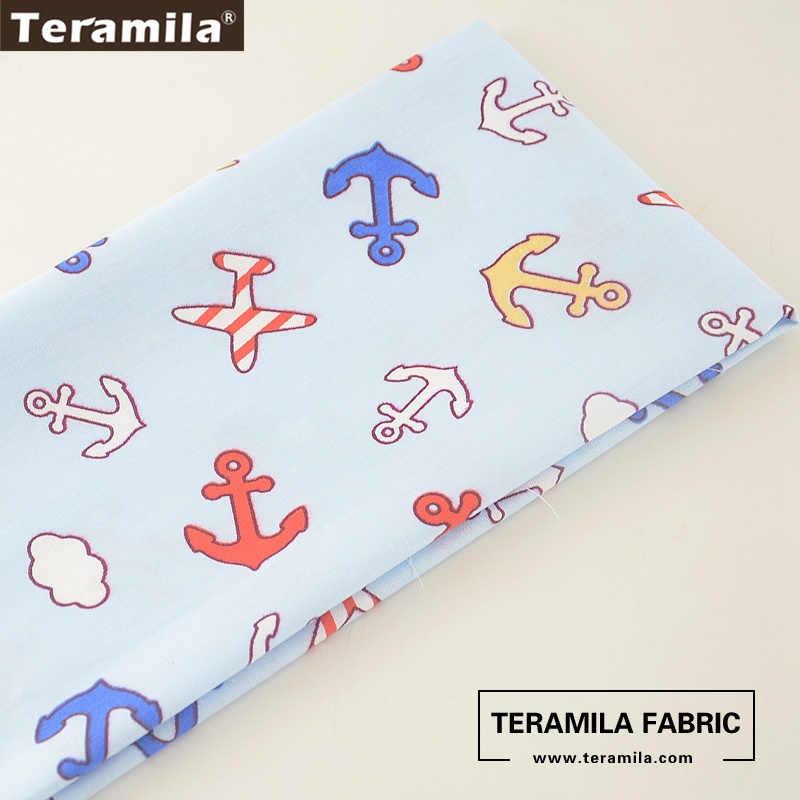 Teramila-tissu 100% coton doux bleu clair | Motif d'ancre de mer, en sergé gros, couleur quart Dense, matériel de courtepointe, robe bébé artisanat