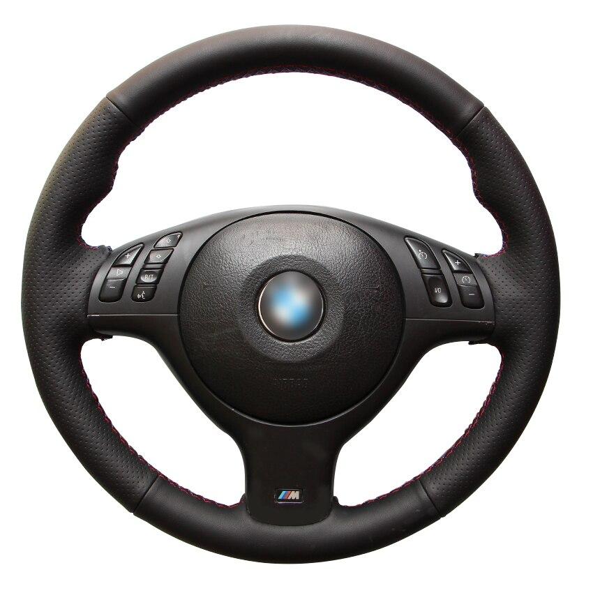 Couvre-volant de voiture antidérapant en cuir artificiel noir cousu à la main pour BMW E90 320i 325i 330i 335i E87 120i 120d