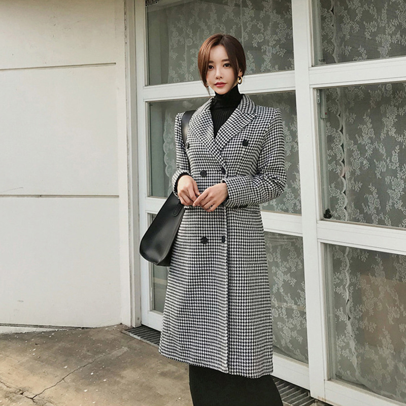 Fashion women comfortable warm plaid coat new arrival high quality temperament vintage thick holiday outdoor trend lady   trench