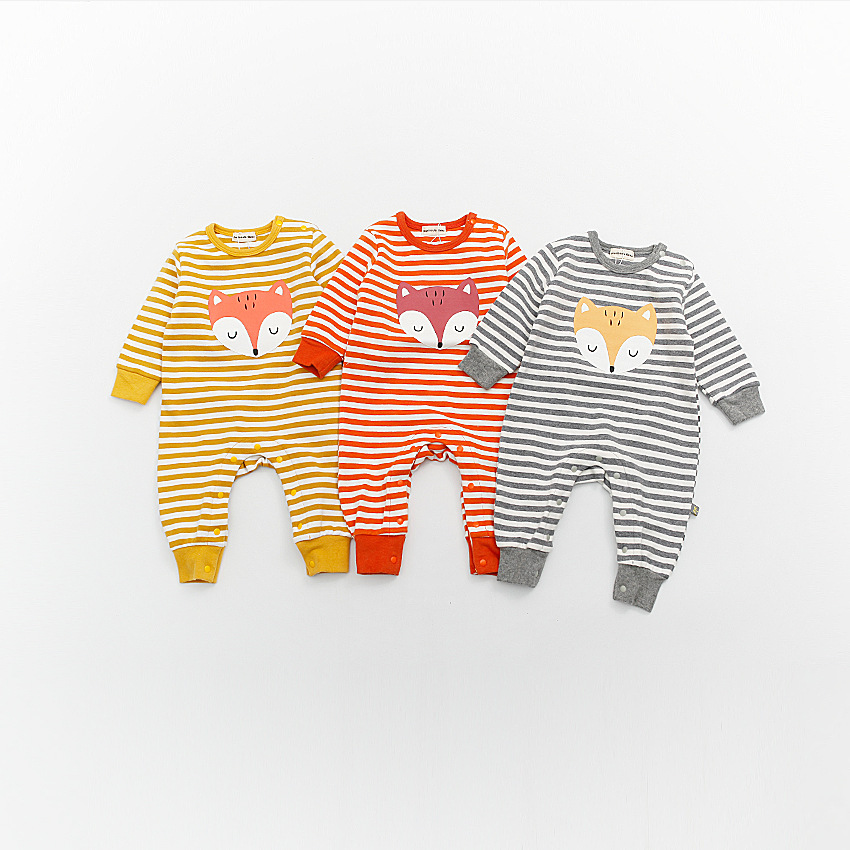 Autumn Winter Newborn Infant Kids Baby Boy Girl Cotton Romper Long Sleeve Cartoon Fox Jumpsuit Cute Baby Onesie Clothes Outfits autumn winter baby girl rompers striped cute infant jumpsuit ropa long sleeve thicken cotton girl romper hat toddler clothes