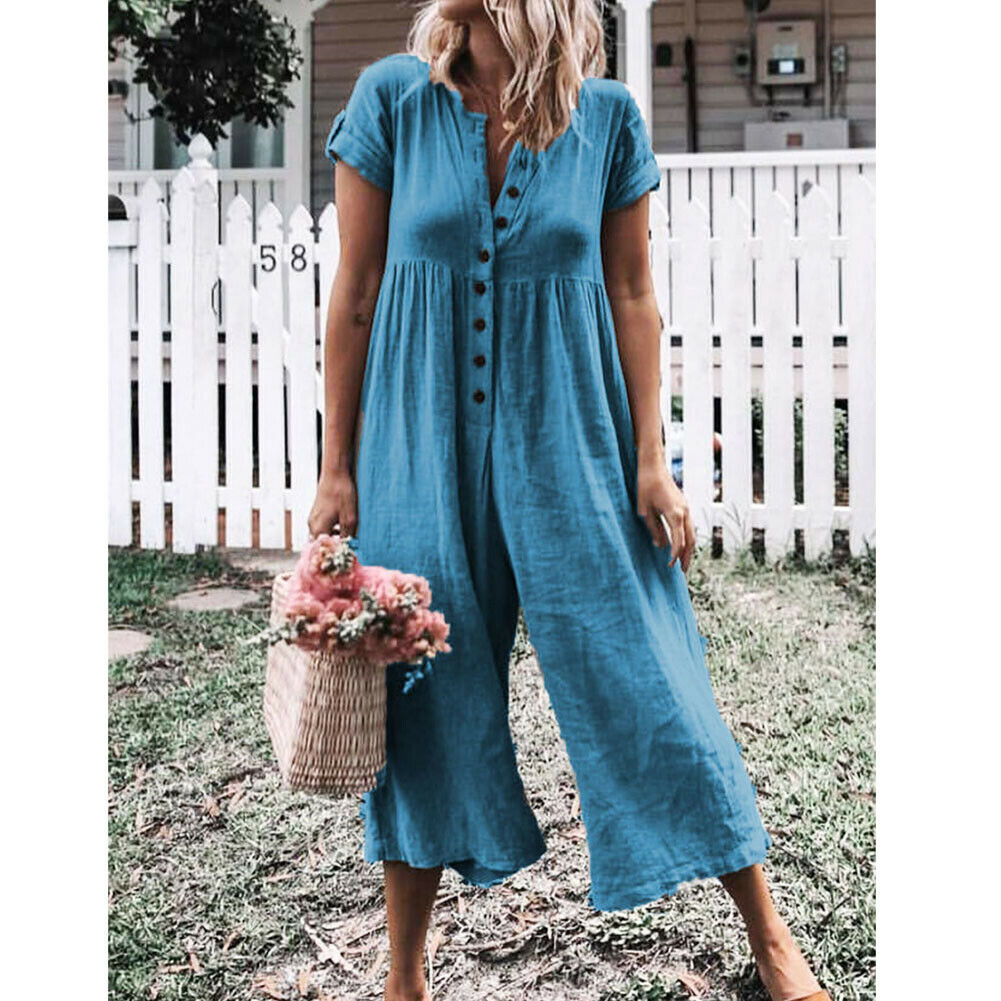 Fashion Women Loose Baggy Button Overalls Short Sleeve   Romper   Jumpsuit