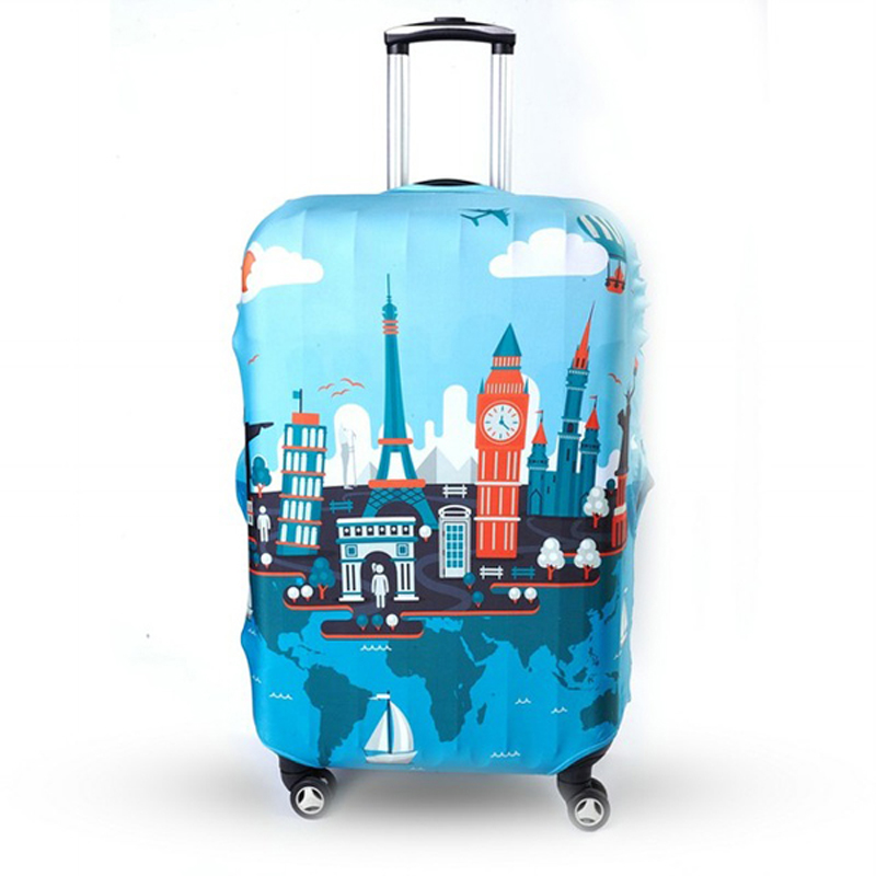TRIPNUO Thicker Blue City Luggage Cover Travel Suitcase Protective Cover for Trunk Case Apply to 19''-32'' Suitcase Cover цена
