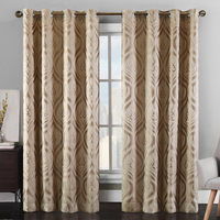 New Sunny3D Floral Jacquard Window Curtains Heavy High Black Out Process Finished Size Decorative Drape Shade