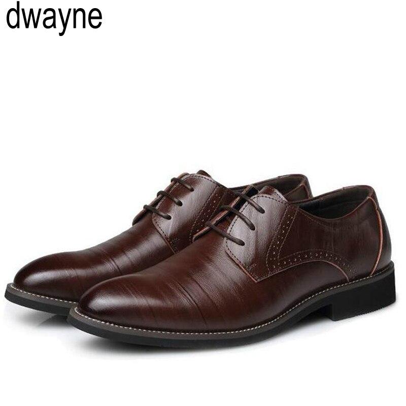 2019 Mens Genuine Leather Shoes Men's Dress Shoes Business Wedding Shoes Oxfords Lace Up Pointed Toe Flats Big Size Hjm7