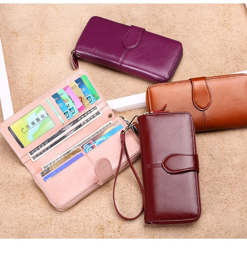 Hot Sale Split Leather Women Long Clutch Wallet