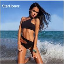StarHonor New Sexy Woman Solid Beachwear Push Up Swimsuit Bandage Monokini Bikinis Set Push Up Bathing Suit Biquini Swimwear