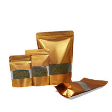 100Pcs Gold Stand Up Aluminum Foil Bags with Window Resealable Lines Zipper Packaging Pouch Zip Lock for Tea Nuts Snack Storage
