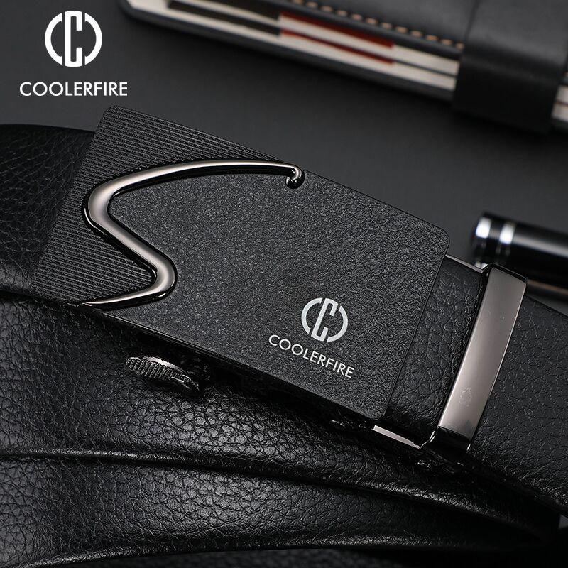 Fashion Brand Automatic Buckle Belt Men's Belt Retro Trend Belt Black PU Leather 3.5 Cm Wide ZD091