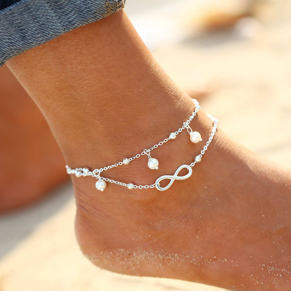 Imitation Pearls Ankle Bracelet Silver Plated Wedding Barefoot Sandals Beach Foot Jewelry Sexy Pie Leg Chain Female Boho Anklet