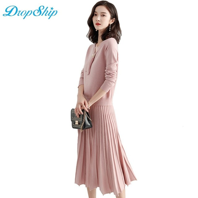 Dropship Autumn 2018 Knitting Women Dresses V Neck Sexy Knitted Dress Long  Sleeve Bodycon Workwear Casual Two Pieces Skirt Set 3a9b26547a9f
