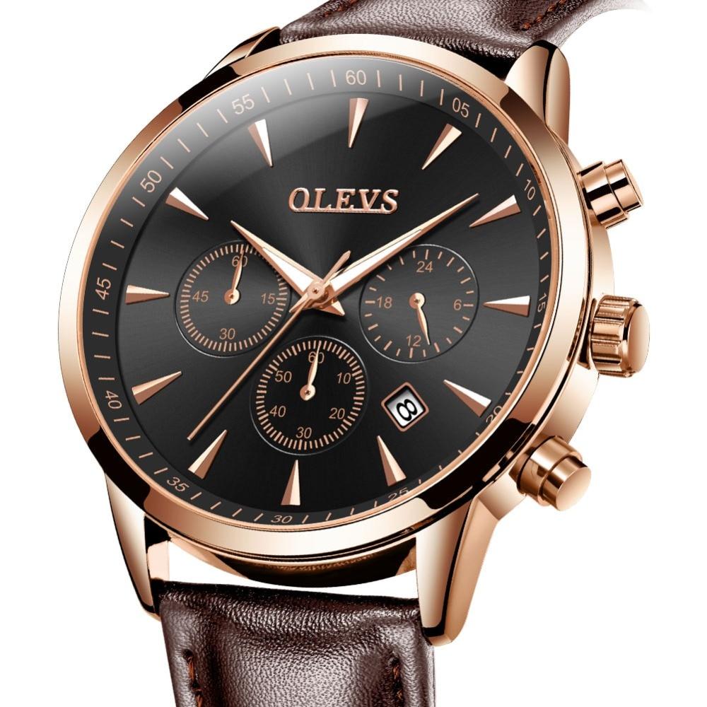 OLEVS מותג שעונים יוקרה גברים עסקים קוורץ Wristwatch ספורט עור אמיתי זכר לצפות erkek kol saati relogio masculino