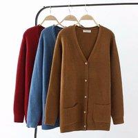 Plus size knitted wool women Cardigan coat 2019 autumn blue & dark red & Caramel color ladies sweater female knitwear coat 4XL
