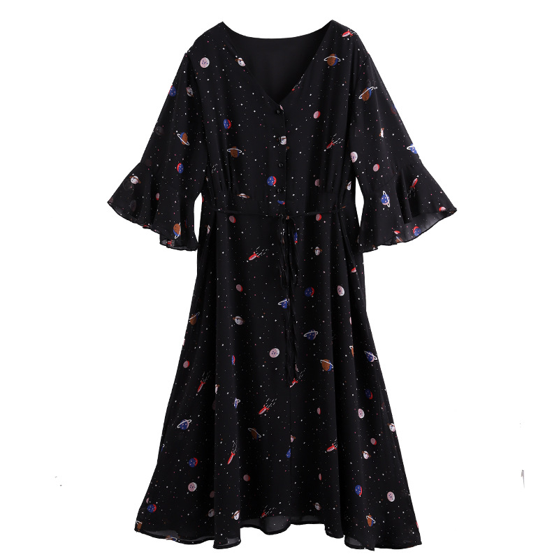 TwoHexa Summer Women Flare Half Sleeves Dress Women V-neck Chiffon Print Sexy Dress Female Plus size 4XL 5XL <font><b>6XL</b></font> <font><b>7XL</b></font> 8XL <font><b>9XL</b></font> 10X image