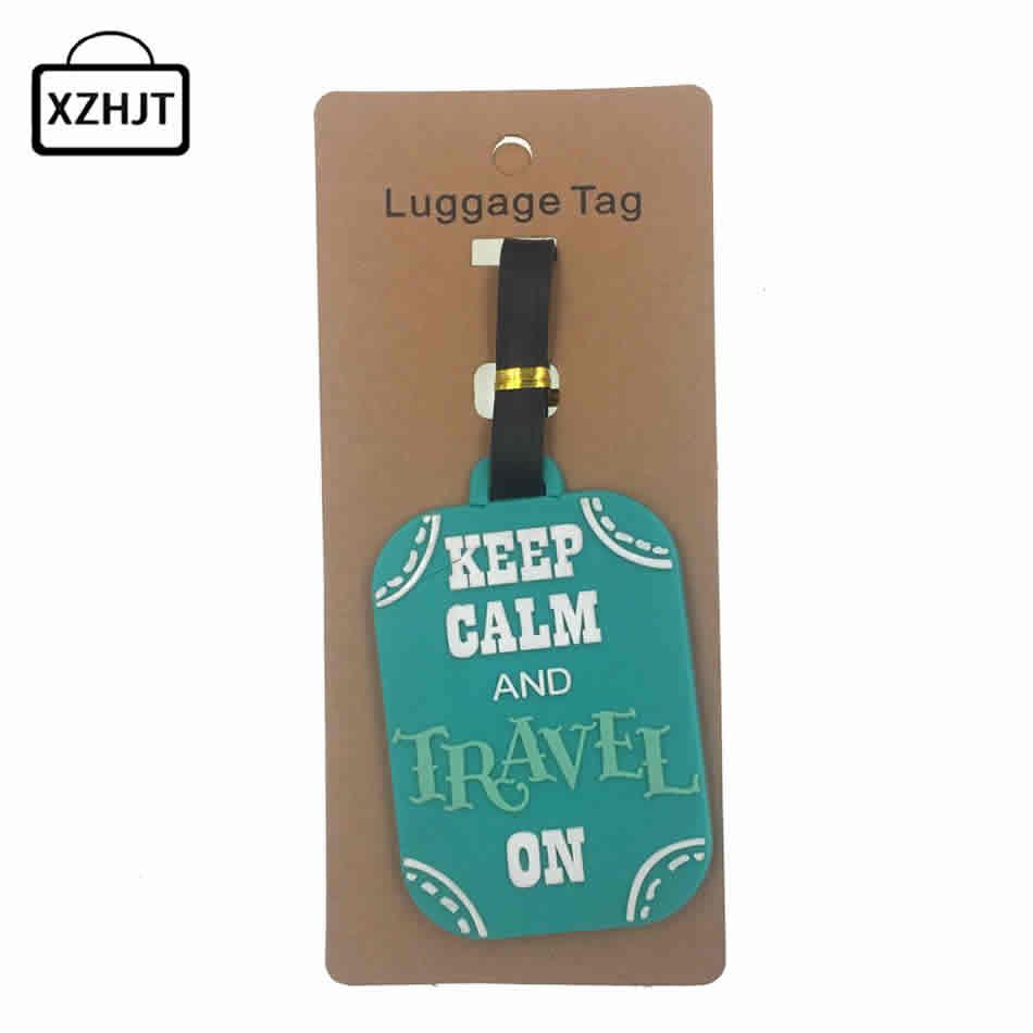 Travel Accessories Keep Calm Luggage Tag Fashion Women Silica Gel Suitcase ID Address Holder Baggage Boarding Tag Portable Label