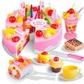 DIY Happy birthday cake food cutting set mini fake food miniature toy for girls game plastic kitchen play Children pretend play