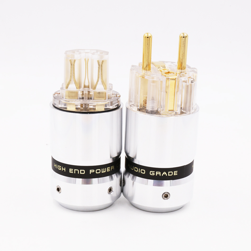OEM 1pair Hifi audio Transparent 24K Gold Plated  Power cable EUR Schuko EU  power plug extension adapter