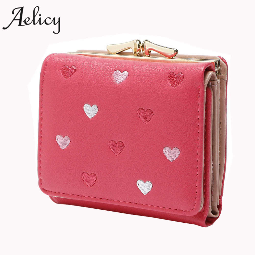 Aelicy Fashion Colorful Lady Lovely Coin Purse Solid Heart Clutch Wallet Large Capacity Women Small Bag Cute Card Hold carteiras aidocrystal heart shape factory direct sell fashion woman diamond clutch for lady