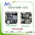 Hd 960 P 1.3MP CCTV câmera IP board e POE módulo a CCTV IP POE Camara placa + cauda Lan cable, P2p grátis número de série