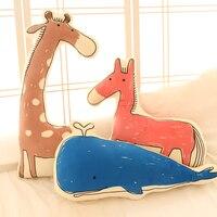 Candice guo peluş oyuncak dolması bebek karikatür el-dekore desen at fil Balina timsah Zürafa kanepe yastık yastık 1 adet
