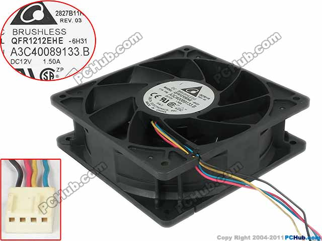 Free Shipping For Delta QFR1212EHE, A3C40089133.B, -6H31 DC 12V 1.5A 4-wire 4-pin 120x120x38mm Server Square fan насос al ko hw 4500 fcs comfort