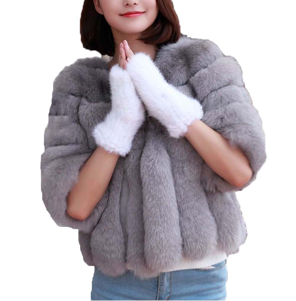 Women's Real Mink Fur Gloves Fashion White Winter