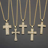 Tiny Bling Bling rhinestone Jesus Cross Pendant For Men Paved Shining Crystal Gold/Silver Necklace With Chain Hip Hop Jewelry