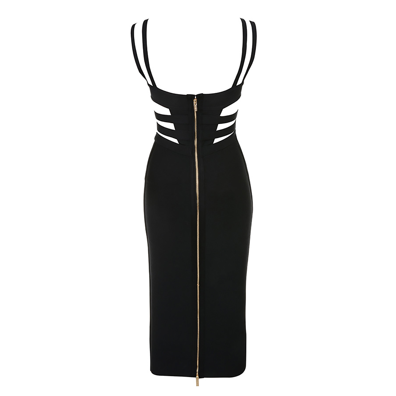 Nouveautés Noir Rayonne Robe Party Évider 2018 Bandage Femmes Sexy Meqeiss Moulante Robes Club xw0tng