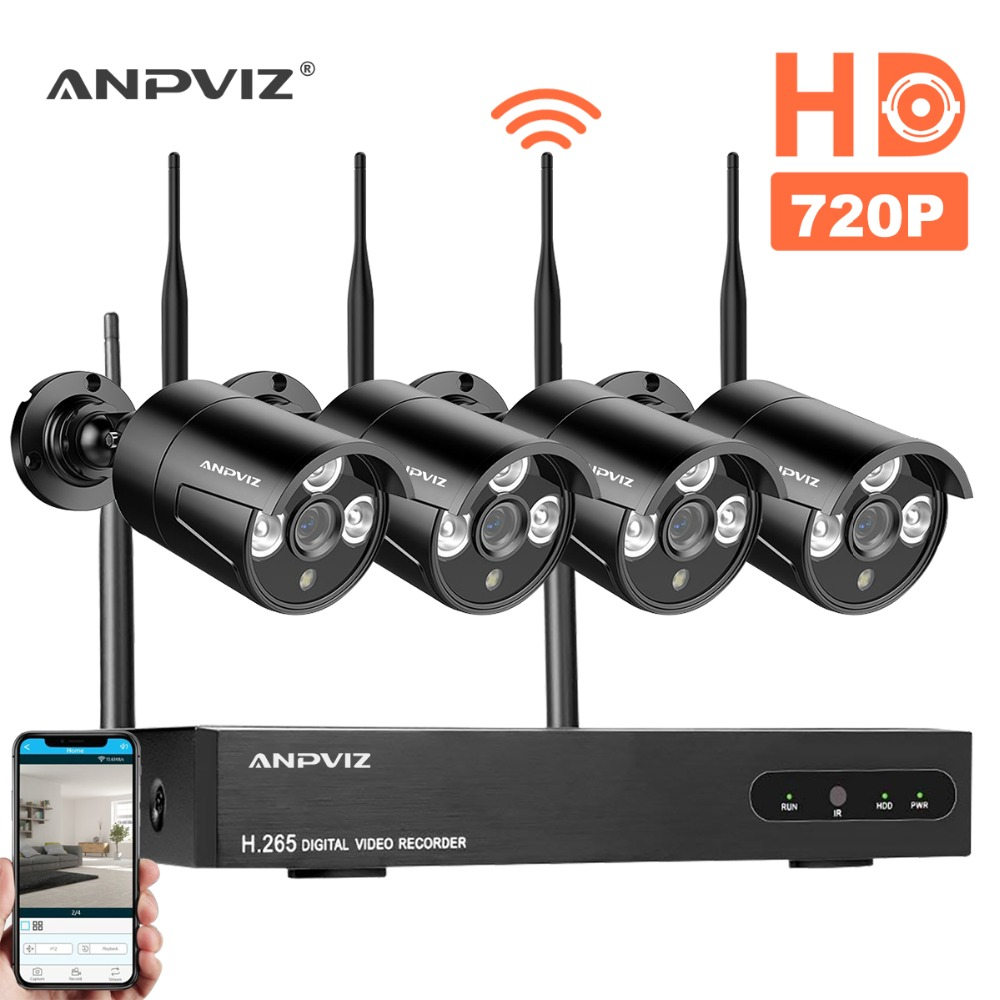 Anpviz 1080P Wireless CCTV camera System 4ch 720P IP Camera waterproof outdoor P2P Home Security System Video Surveillance Kits