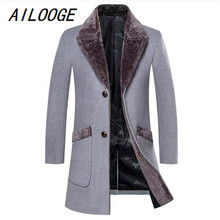 AILOOGE Arrival Winter Men's Long Woolen Coat Fur Collar Warm Woolen Coats Male Solid Color Slim Casual Windbreaker Jacket