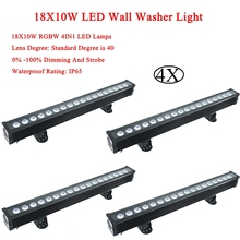 4Pcs/Lot LED Wash Wall 18x12W RGBW 4in1 Stage Lighting Indoor and Outdoor with Control DMX512 Good Effect DJ Equipmen