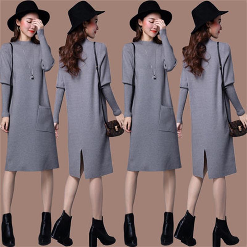 ed59152e1 De Moda 4 3 Tocando Fondo Suéter Vestido Otoño Nuevo Mujeres Invierno La  Las Y El 1 Secciones 2 Largas ...