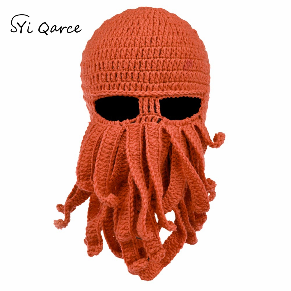 SYi Qarce Handmade Tentacle Octopus Hat Balaclava Cap Winter Warm Hat   Skullies     Beanies   for Men's Best Christmas Gift NM239-45
