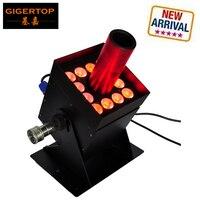 Gigertop TP T21S 12x3W Led CO2 Jet Equipment Stage Led Lighting Black Solenoid Valve Barndoor Case 7 DMX Channels 250W Power