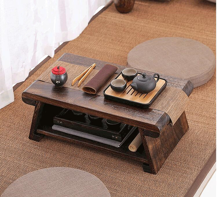 Multi Folding Wooden Japanese Tea Table For Living Room Furniture Low Modern Minimalist Compact Tatami Coffee Folding Table Wood wood
