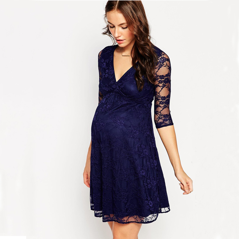 Green Home Sexy Lace Maternity Dresses Deep V-Neck Two Layers Maternity Dress for Pregnancy Summer Breastfeeding Nursing Clothes green home winter fashion maternity dress pregnant women special design maternity clothes floral print v neck nursing dresses