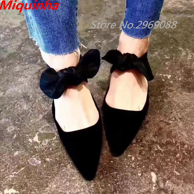 346d2250f43 Patchwork Bowtie Kitten Heel Mules Butterfly Lace up Low Heels Sandals  Pointed Toe Sandals Femme Fashion Women Shoes