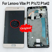 Original Best New For Lenovo Vibe P1 P1c72 P1a42 LCD Display Touch Panel Screen Digitizer Assembly with frame Phone Sensor Parts